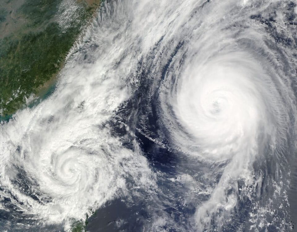 satellite view of two hurricanes
